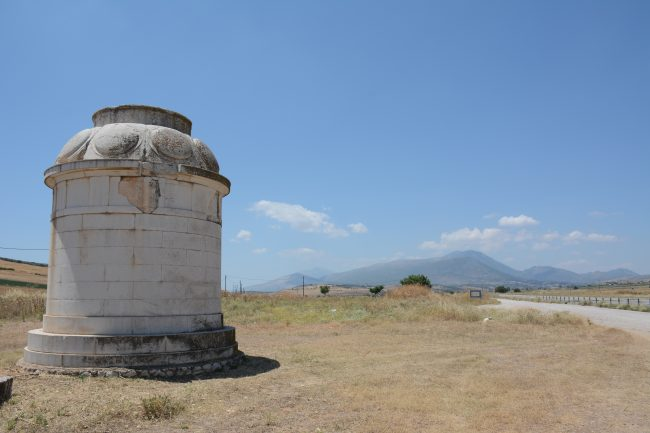 The battlefield monument to the Battle of Leuctra.