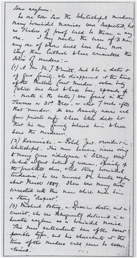 Macnaghten memorandum Jack the Ripper