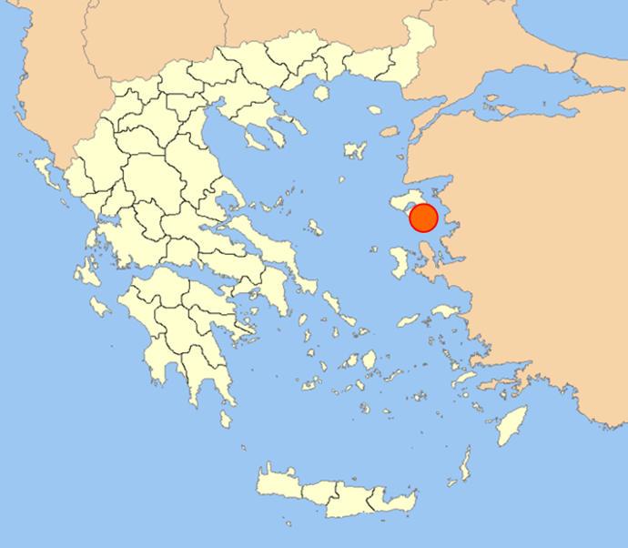 Map showing Mytilene on Lesbos