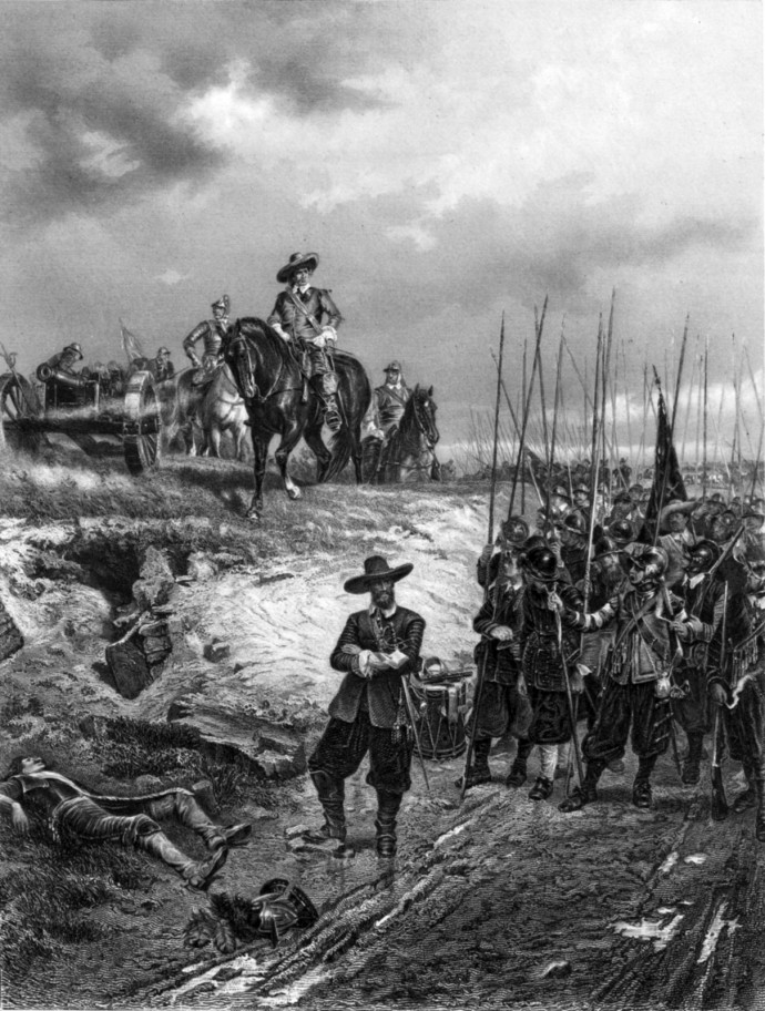 An 1877 painting of Oliver Cromwell at the Battle of Marston Moor.