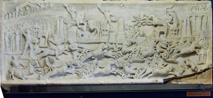 Relief showing Ancient Roman ludi