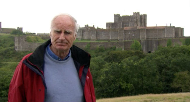 Peter Snow in front of Dover Castle.