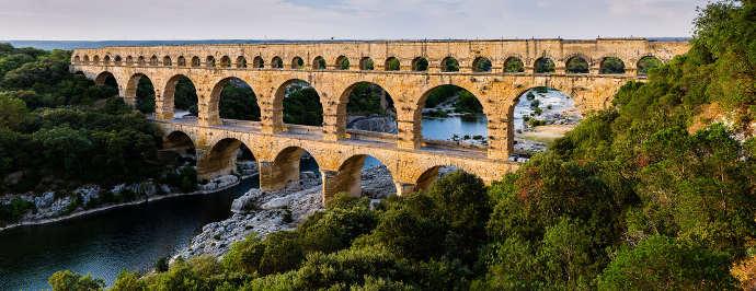 Photograph of the Ancient Roman aqueduct near Nimes, now the Pont du Gard.