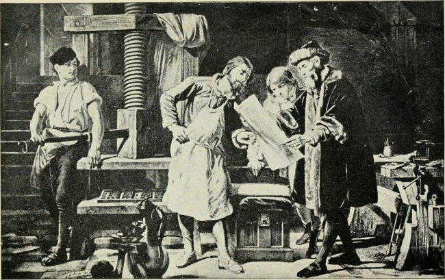 early 20th century depiction Johannes Gutenberg and the printing press