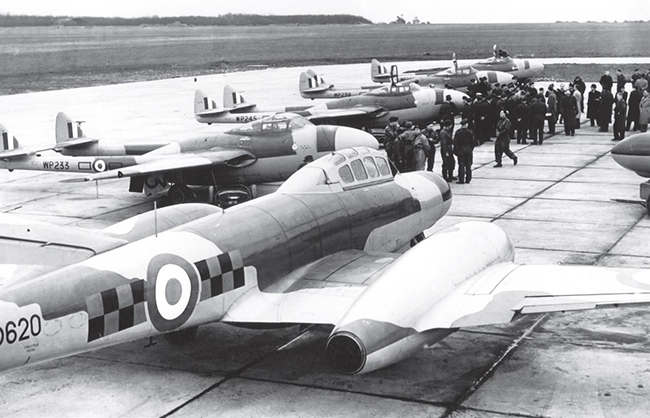 A classic line-up of aircraft at West Malling. The nearest is Meteor NF.11 WD620 of No. 85 Sqn. Behind is a row of Vampire NF.10s of No. 25 Sqn, WP233, WP245, WP239 and WP240.
