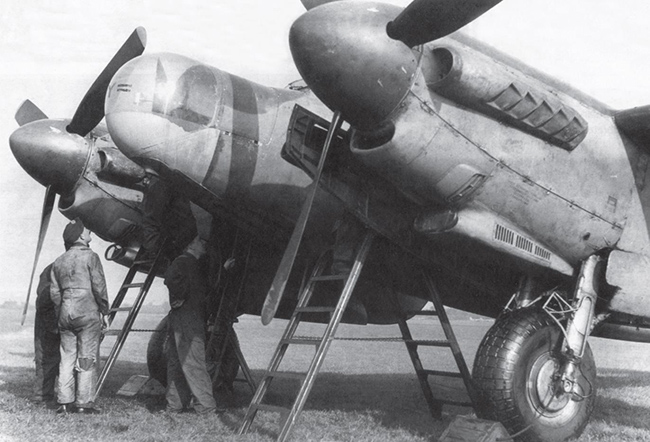 Mosquito NF.36 MT487 'ZK-Y' of No. 25 Sqn, gets a major service. Note the flame-damping exhaust on the engine and the Mk. X Air Interception (AI) radar in the transparent nose.