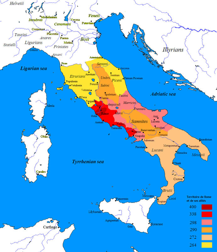 Map showing Roman expansion in Italy