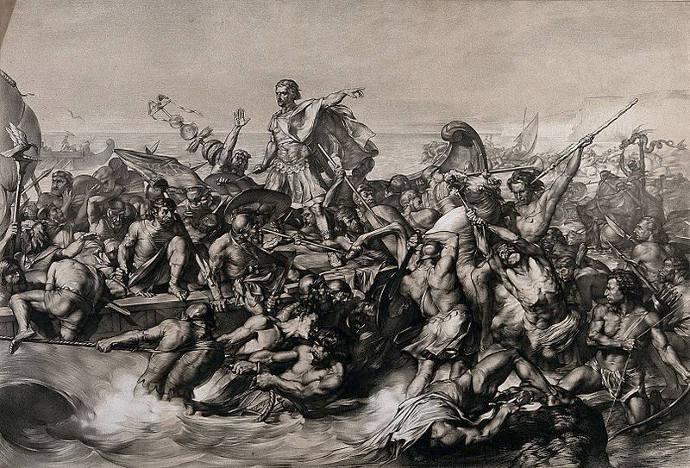 Roman troops landing in Britain