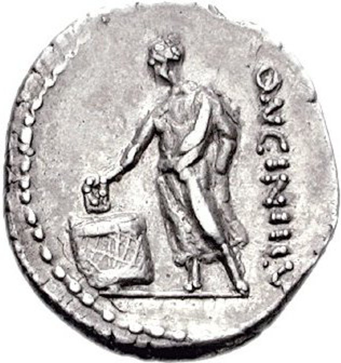 Coin showing Ancient Roman voter