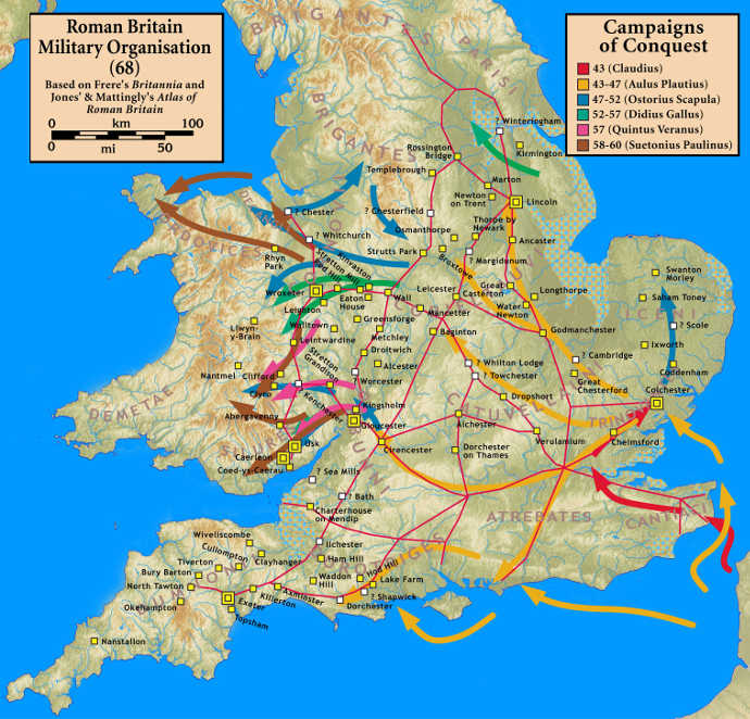 Roman military campains in Britain 42 - 60 AD