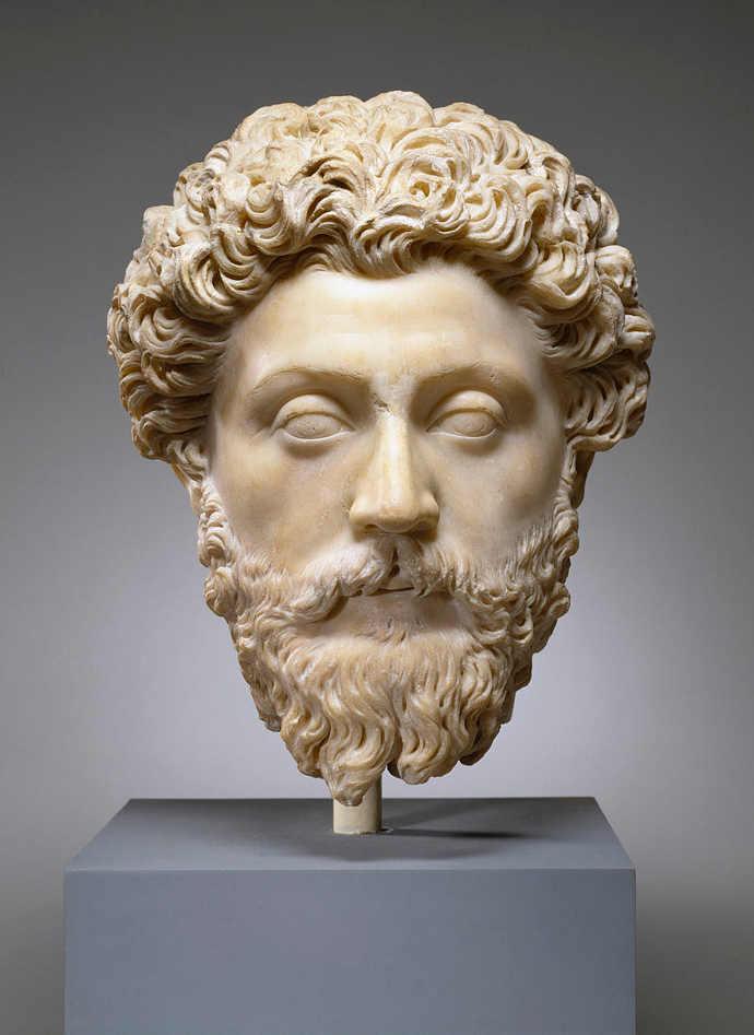 Portrait bust of Emperor Marcus Aurelius.