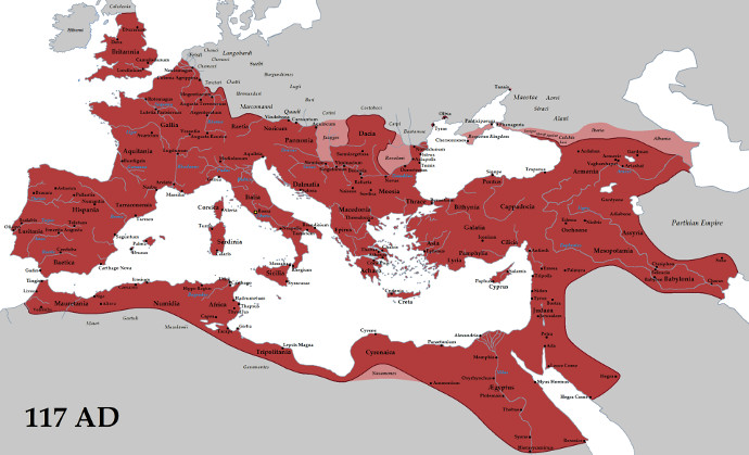 Extent of the Roman Empire in 117AD