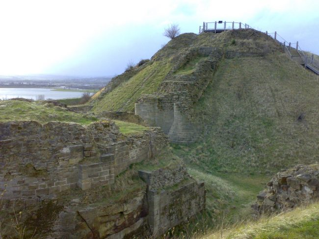 The remains of the motte of Sandal Castle.