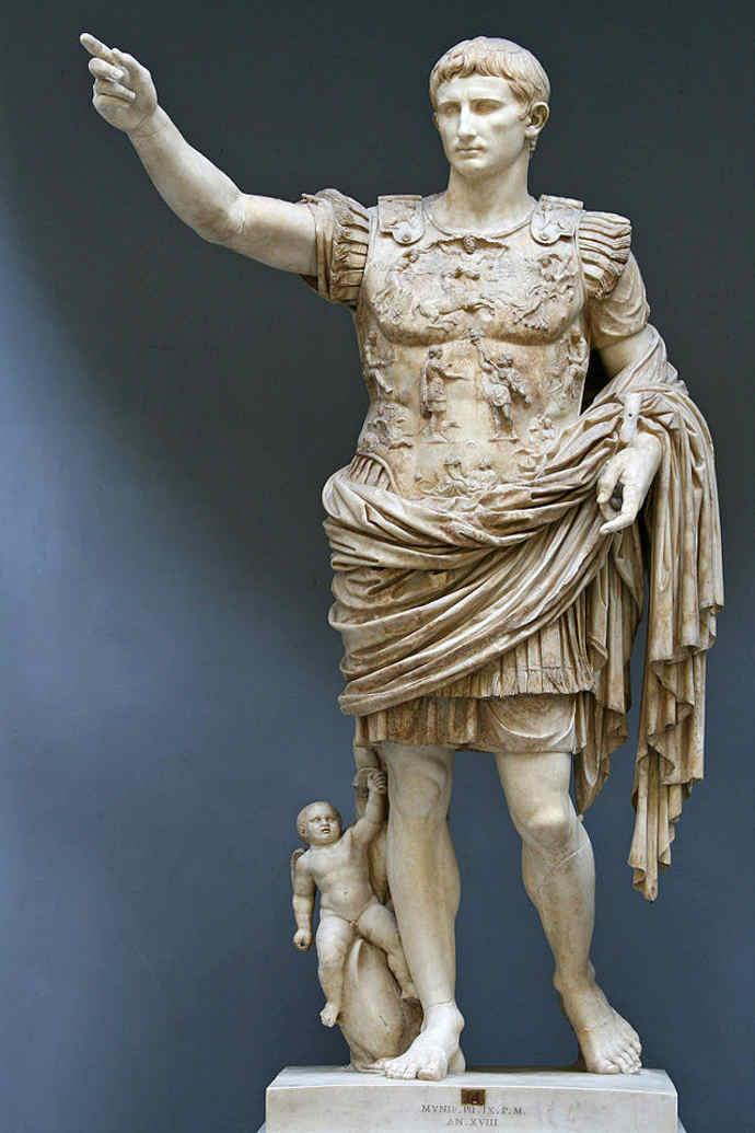 The Prima Porta statue of Emperor Augustus of Rome