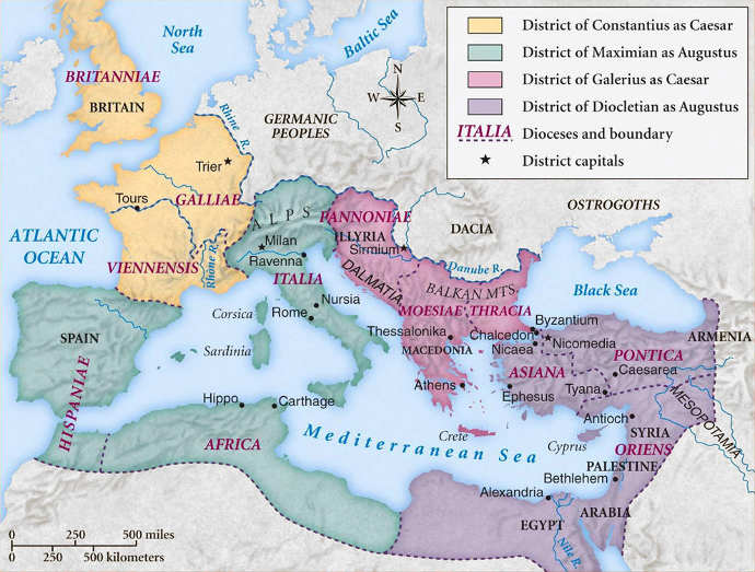 The territories of the Tetrarchy under Ancient Roman Emperor Diocletian