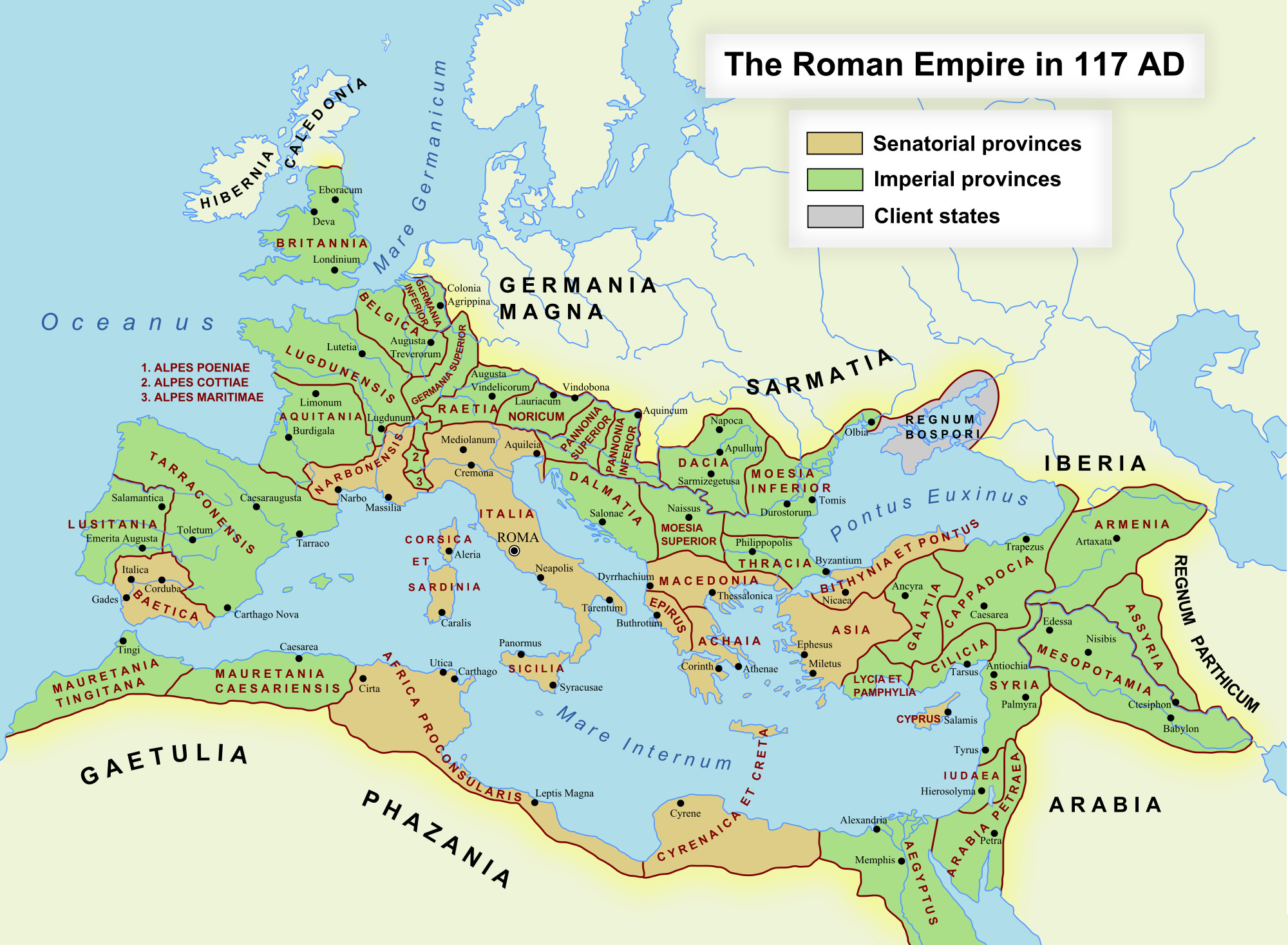 This depict the Empire's territories at its height in the second century AD. Its downfall followed just a few centuries later, the sheer size of it a contibuting factor to its collapse.