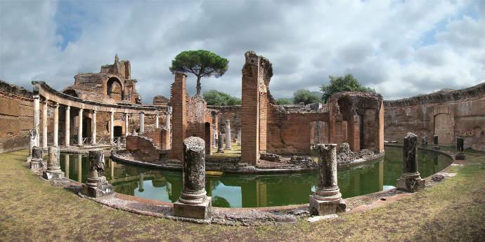 The island in Emperor Hadrian's villa at Tivoli.