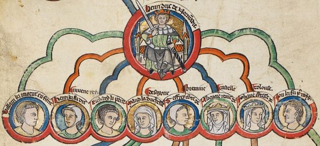 A 13th-century depiction of Henry II and his children, left to right: William, Henry, Richard, Matilda, Geoffrey, Eleanor, Joan and John.