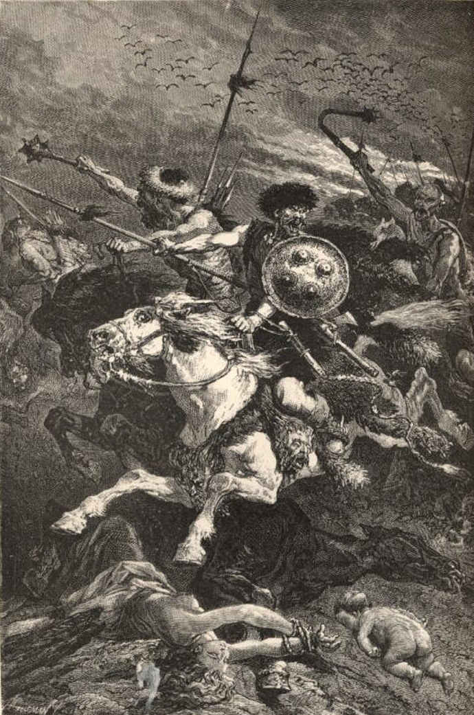 Hunnic warriors at the Battle of Chalons