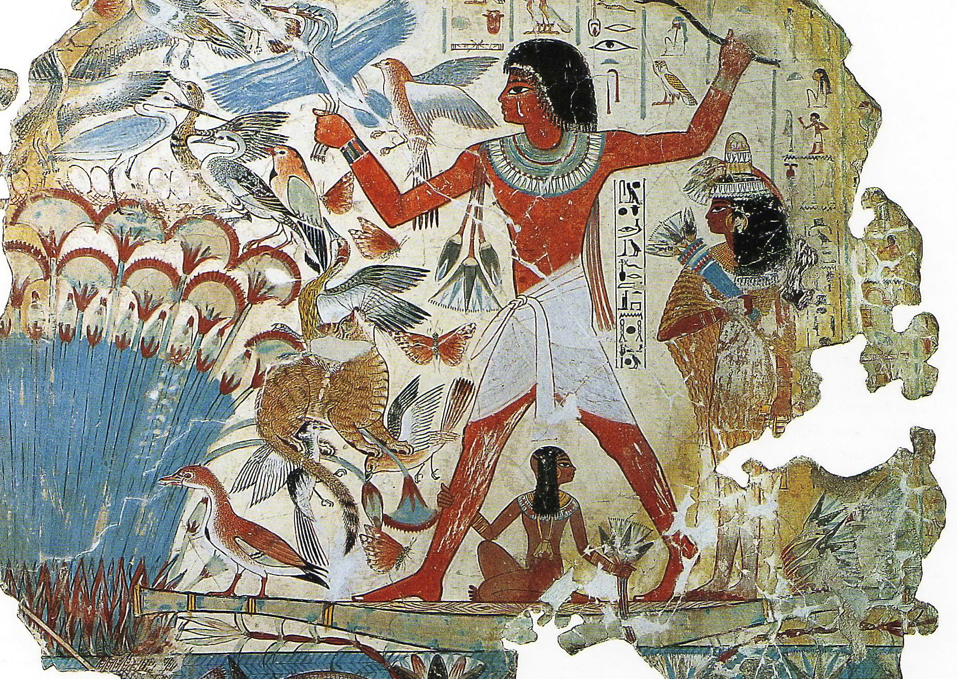 An Egyptian fowling scene showing how the ancient Egyptians used cats for hunting.