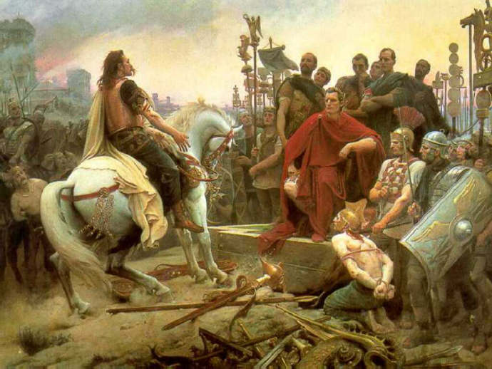 Vercingetorix aurrenders to Caesar at the Battle of Alesia