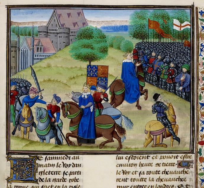 The death of Wat Tyler as depicted in 1483 by Jean Frossar.