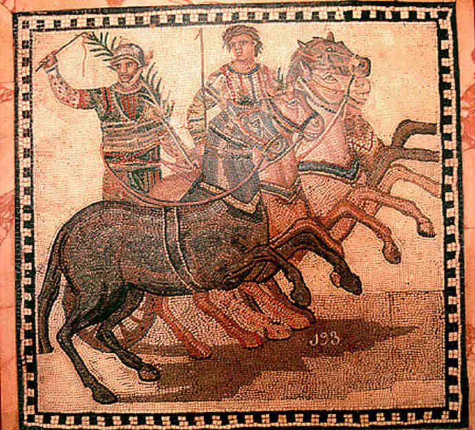 The red team in an Ancient Roman chariot race
