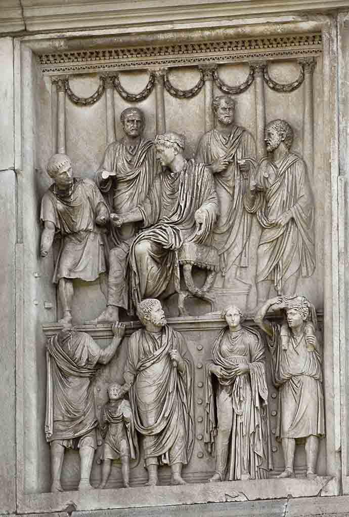 Scene of the emperor's generosity