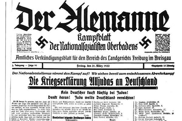 Der Alemanne, a newspaper in Freiburg, declares war on the Jews