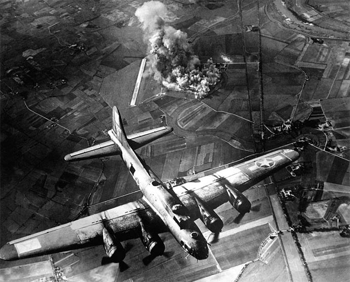 A raid by the 8th Air Force on the Focke Wulf factory at Marienburg, Germany (1943). Targetted bombing regular missed.