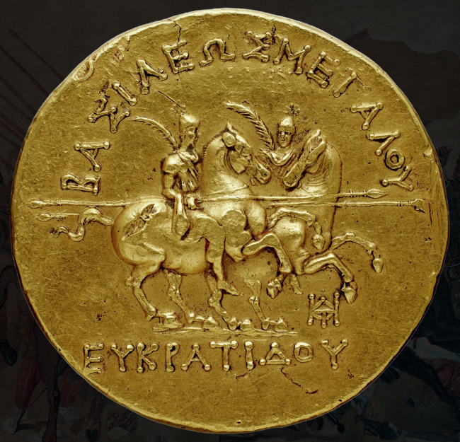 Bactrian royal cavalry, depicted on Eucratides' famous gold stater