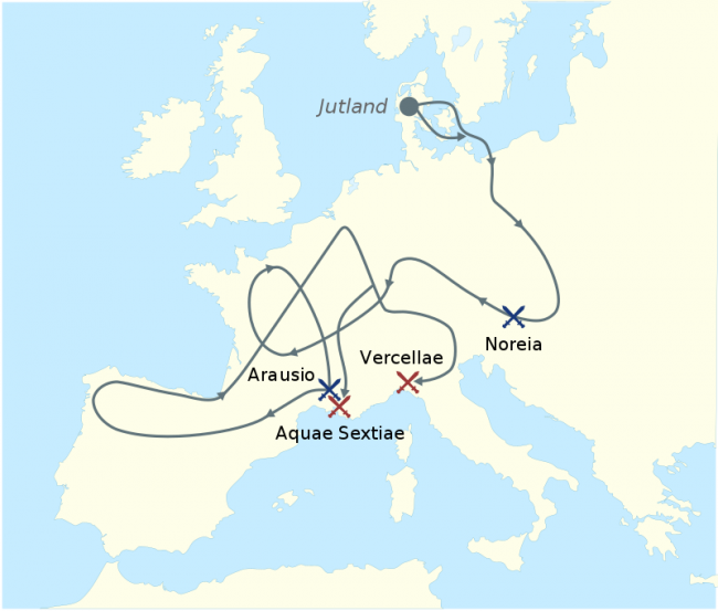 The migration of the Cimbri and the Teutons