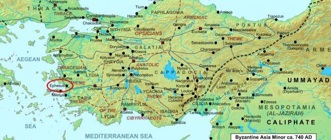 Asia Minor map. Ephesus.