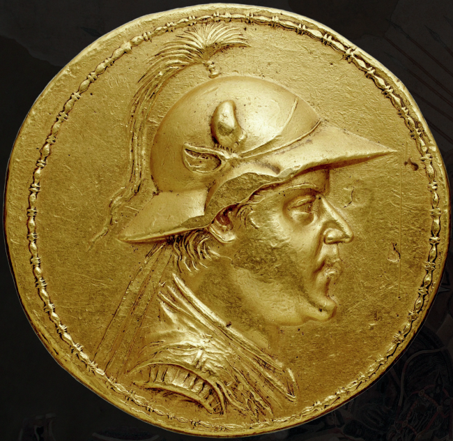 The portrait of Eucratides on his famous gold stater