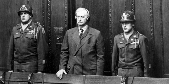 Friedrich Flick being sentenced at Nuremberg