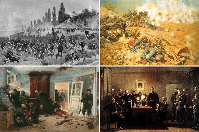 A montage of the Franco-Prussian War