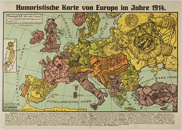 A German cartoon of European alliances - 1914