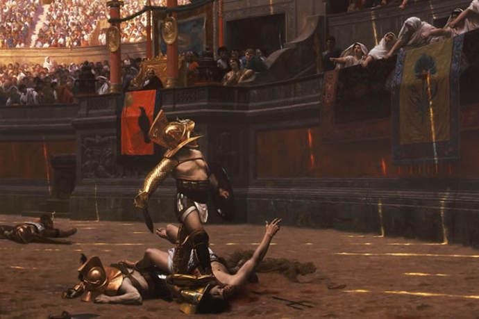 Ancient Roman gladiators await judgement from the crowd