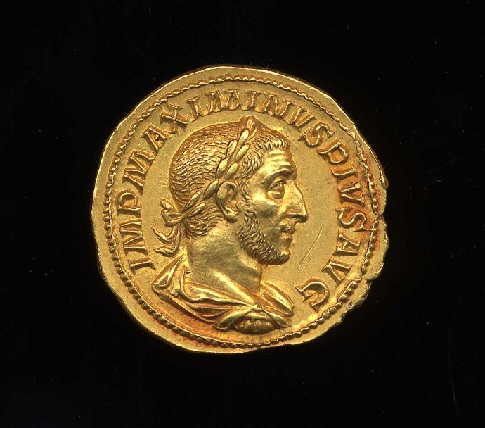A coin of Maximum Thrax's reign.