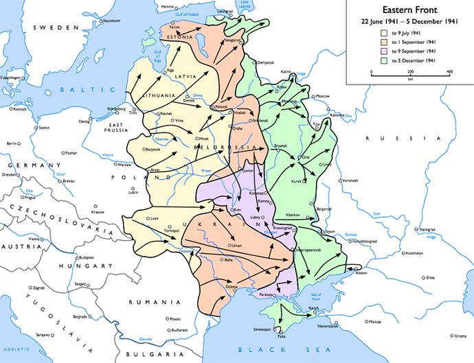 This map of Operation Barbarossa (June 1941 - December 1941) shows the vast distance covered by the German army on a wide front. Millions of civilians were killed in its wake.
