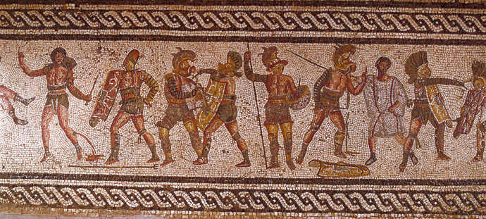 Ancient Roman gladiators on a mosaic