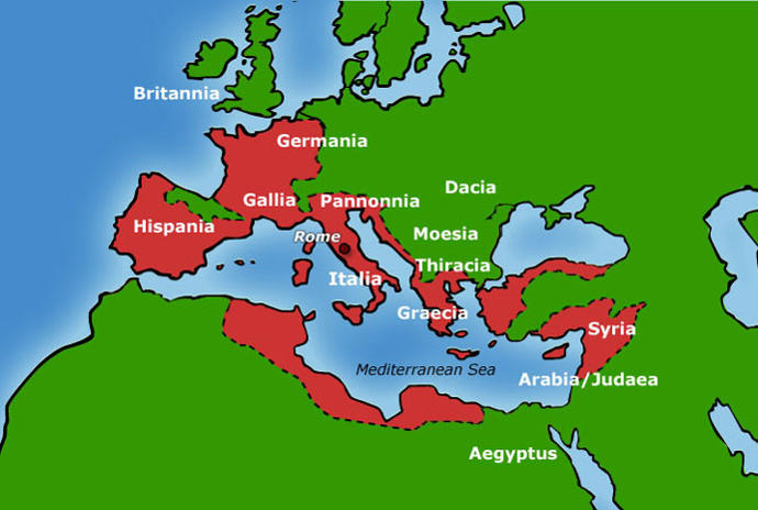 Map of Ancient Rome at the end of Caesar's reign
