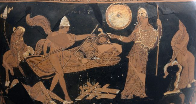 Rhesus, depicted here asleep as Odysseus approaches.