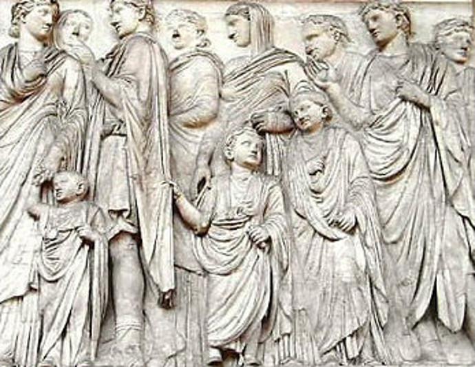 Relief showing Ancient Roman families
