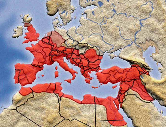 Roman Empire over modern boundaries