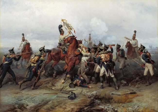 Seizing a French eagle at Austerlitz.
