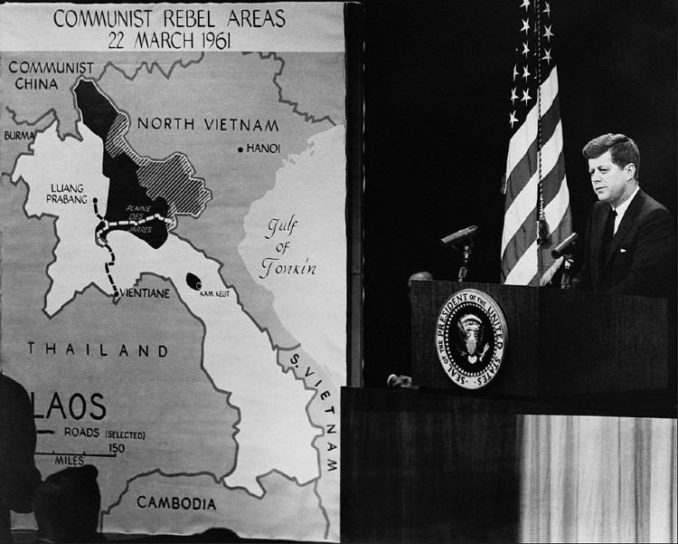 President Kennedy in 1961 with CIA map of Vietnam