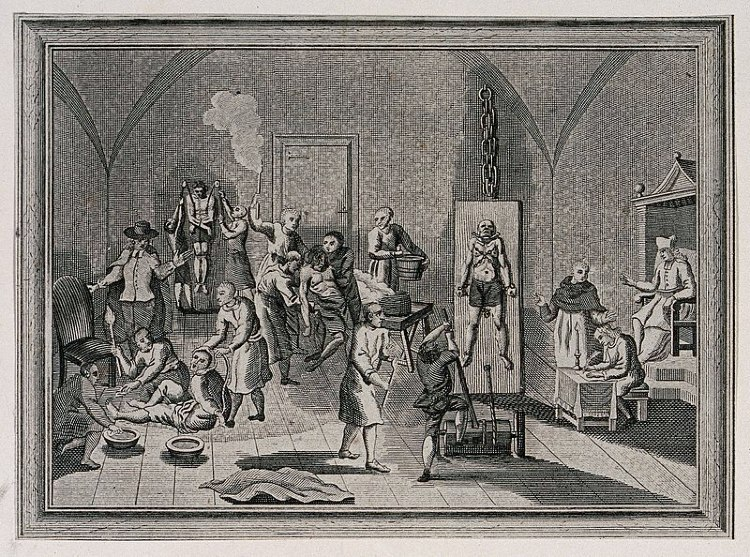 The inside of a jail of the Spanish Inquisition