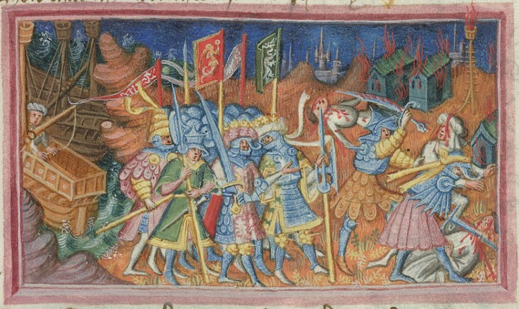 15th century depiction of Ivar and Ubba ravaging the British countryside
