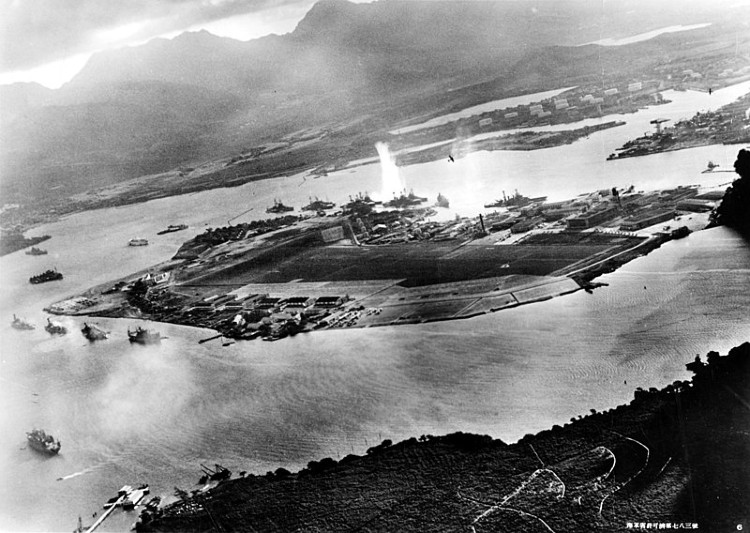 Attack on Pearl Harbor- Japanese planes view